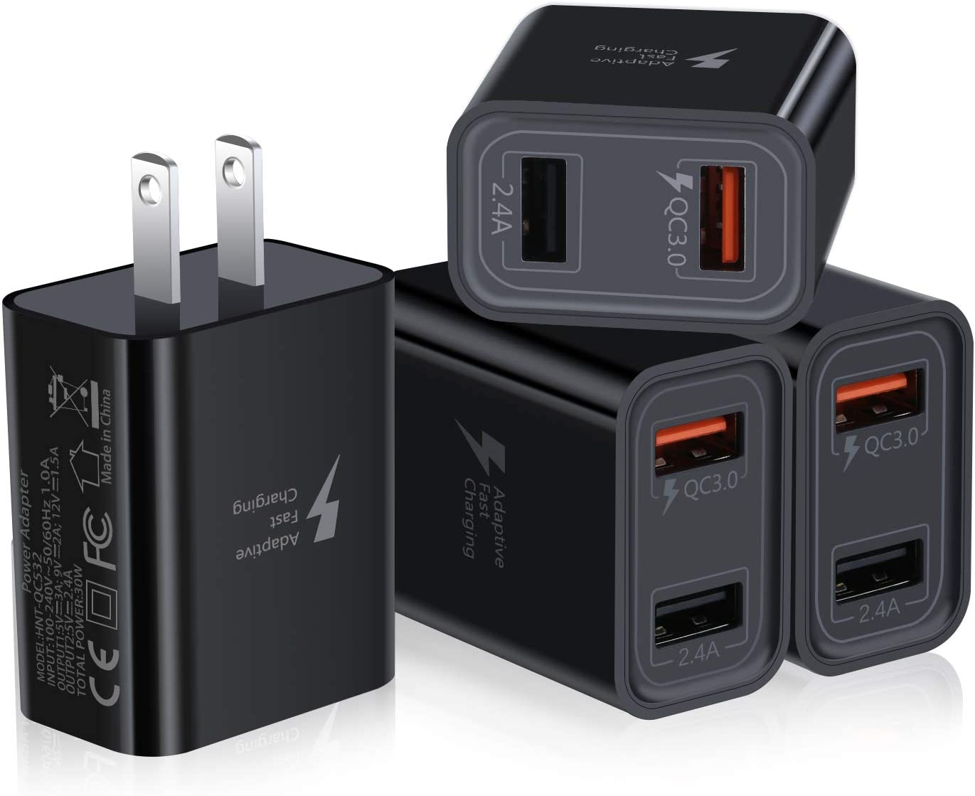 Fast Charge 3.0 USB Charger, Pofesun 4Pack 30W QC 3.0 USB Wall Charger Adapter Adaptive Fast Charging Block Compatible Samsung Galaxy S10 S9 S8 Plus