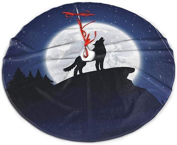 N/A Falda para árbol de Navidad, diseño de Lobo Galaxia Lunar ...