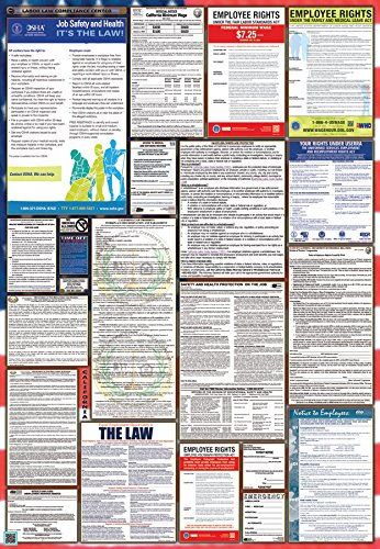 2017-California & Federal Combination Labor Law Posters- Laminated- (New)