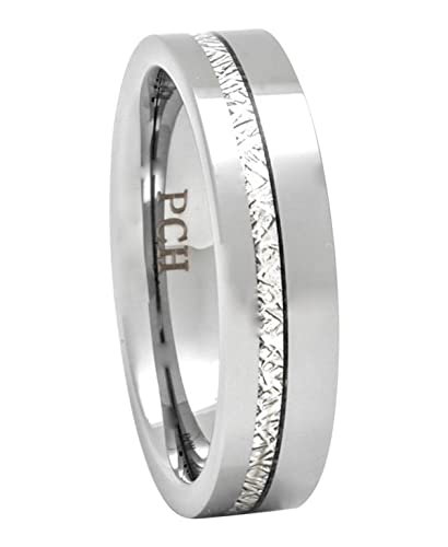 Meteorite Ring 6mm Tungsten Carbide Comfort Fit Mens Wedding Band Thin Strip High Polish 6