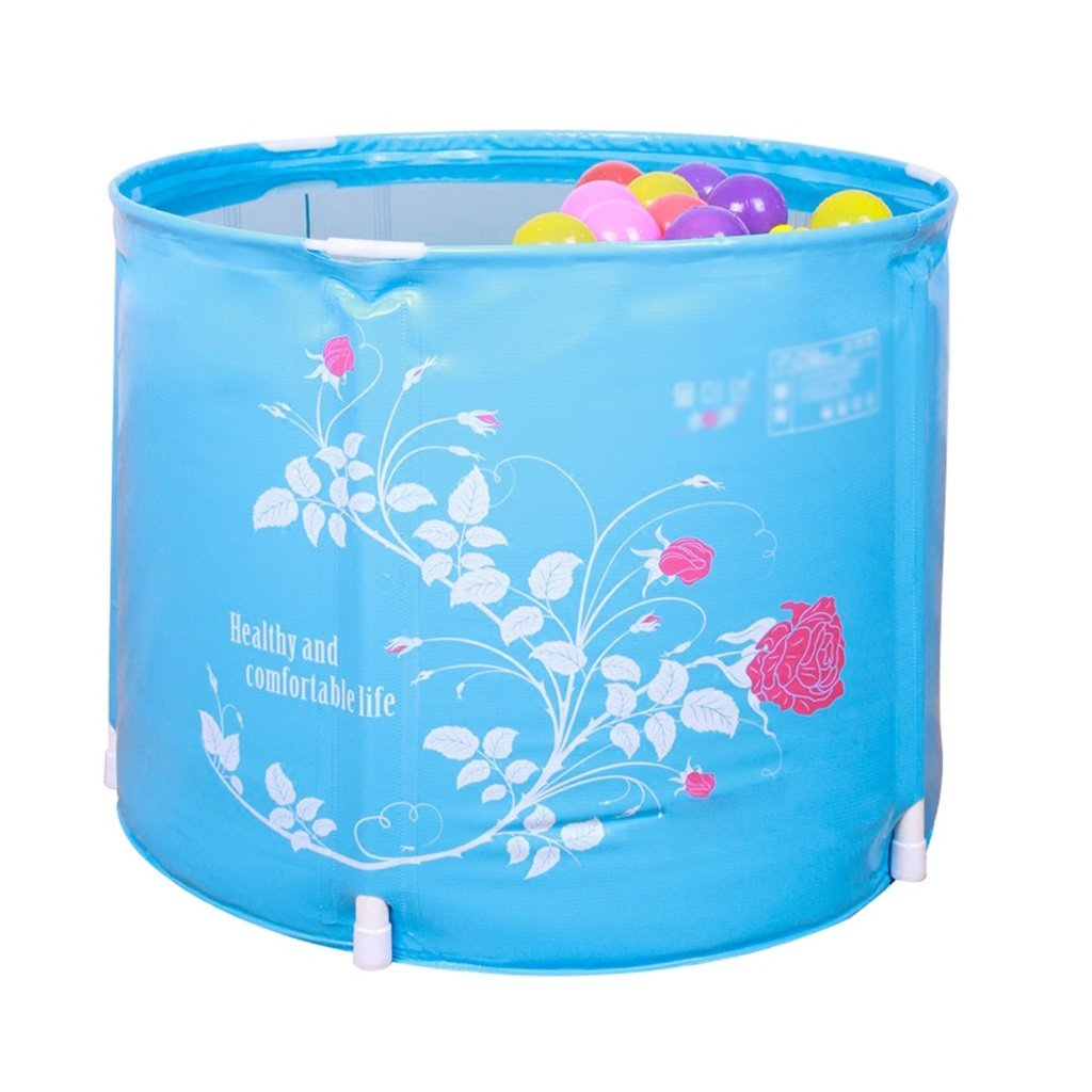 Kid Inflatable Folding Bath Tub Playing Pool, Portable White Flowers, Pink Branches Baby Shower Tub Home SPA
