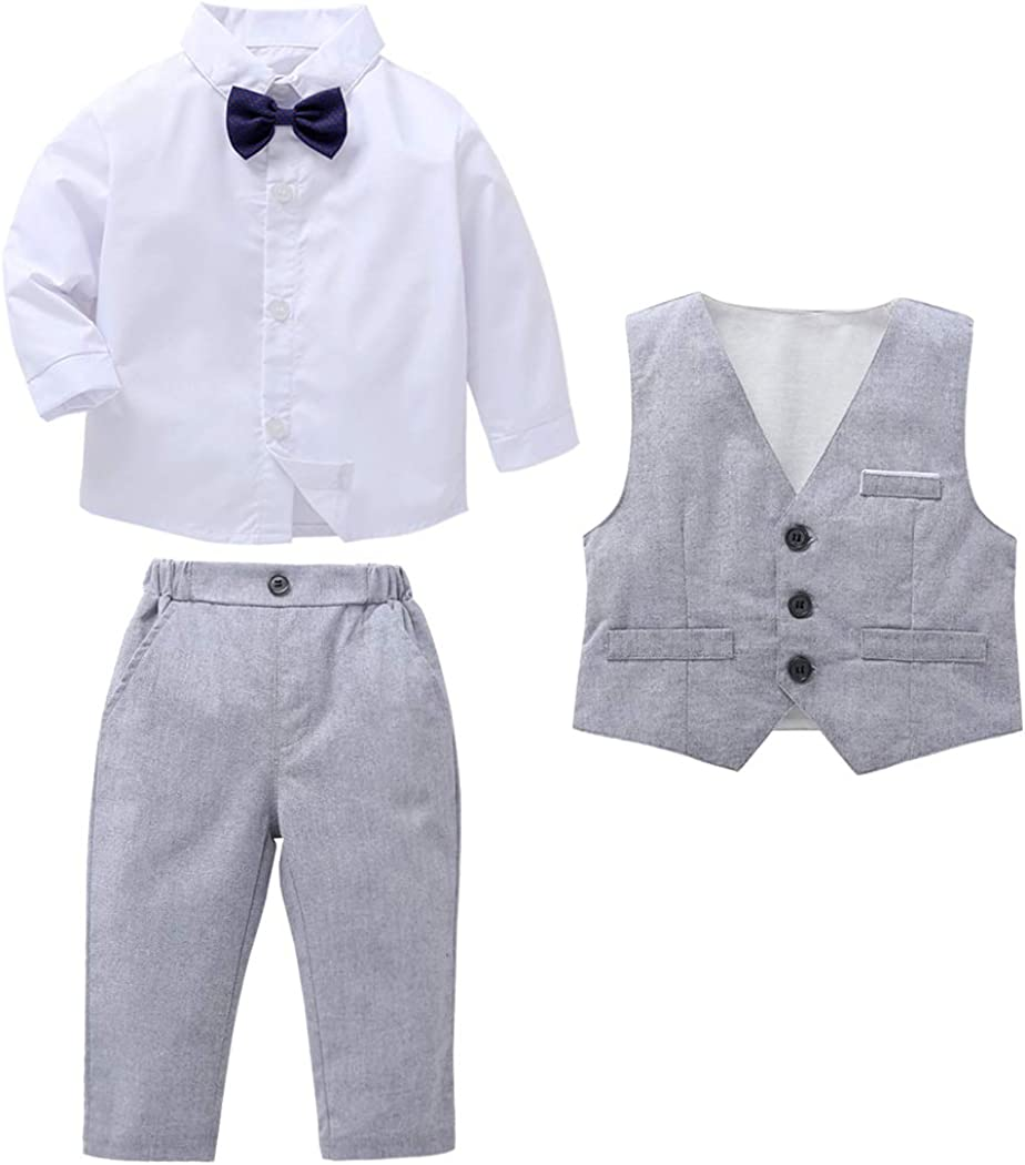 MetCuento Baby Boy Clothes Long Sleeve Gentleman Outfit Bowtie Tuxedo Vest Wedding Birthday Party Formal Suit
