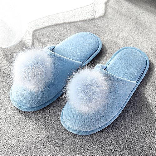Slippers on Women's Slip Outdoor Women Blue Slippers Slippers pom Fuzzy Fluffy for Pom INFLATION Plush Indoor T7nCqzxgwg