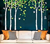 Fymural 5 Trees Wall Decals - Forest Mural Paper for Bedroom Kid Baby Nursery Vinyl Removable DIY Decals 103.9x70.9, White+Green