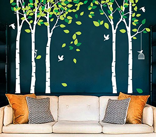 CaseFan 5 Trees Wall Decals Forest Mural Paper for Bedroom Kid Baby Nursery Vinyl Removable DIY Decals 103.9x70.9