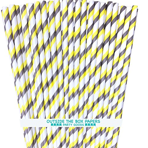 Striped Paper Straws - Yellow Gray White - 7.75 Inches - Pack of 100 - Outside the Box Papers -