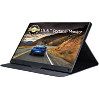 TEKXDD Portable Monitor -15.6 Inch Metal Frame Ultra-Thin Full HD 1080 IPS Screen Gaming Monitor with HDMI Type-C USB-C, Built-in Dual Speakers / Smart Case Travel Monitor for Laptop, PS4, Xbox, Switch, Phone (Black)