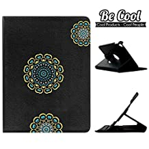 BeCool® - 360 Degree Rotating Tablet Case Flip Folio Stand to protect your iPad Mini 5, with a rotation system and stand function. Three yellow and blue mandalas.
