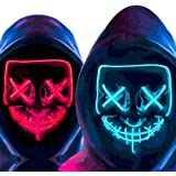 MeiGuiSha Halloween mask LED Light Up Mask Scary Mask Halloween Party Cosplay 2 Pack