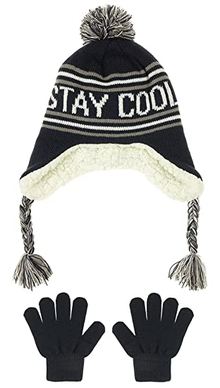 02ca066494f Capelli New York Boys Stay Cool Knit Earflap Hat And Gloves Set Navy Combo  M