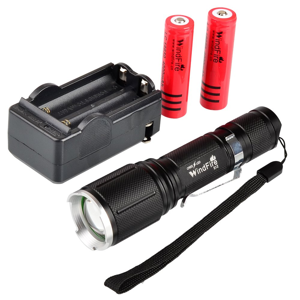 WindFire S12 2000 Lumen Flashlight 5 Modes Cree T6 XM-L Led Zoomable Camping Rechargeable Torch Flash Light Lamp With Clip 18650 Dual Charger Set for Walking Hiking 2pcs 18650 Li-ion Batteries