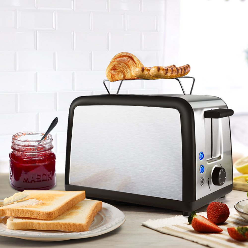 Toaster 2 Slice Warming Rack Brushed Stainless Steel for Breakfast Bread Toasters Best Rated Has Defrost Reheat Cancel Button Removable Crumb Tray By KEEMO by Keemo (Image #2)