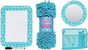 School Locker Organizer Kit - Accessories and Decoration Set with Mirror, Message Board, Bin and Rug (Aqua/Teal))