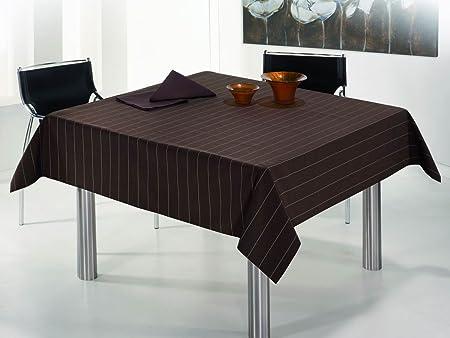ESTELA - Mantel Soria Color Café - 140x300 - Incluye 12 servilletas - Confección en Dobladillo - Hilo Tintado - 50% Algodón / 50% Poliéster: Amazon.es: Hogar