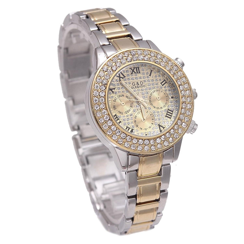 Amazon.com: Sheli Womens Small Roman Romans 2 Tone Gold Diamonds Chronograph Decoration Wrist Watch with Day Date, 37mm: Watches
