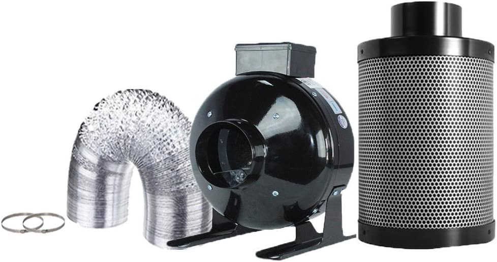 TopoGrow 4 High CFM Inline Fan Carbon Air Filter Combo for Grow Tent Package Kit and Hydroponics Growing System,4
