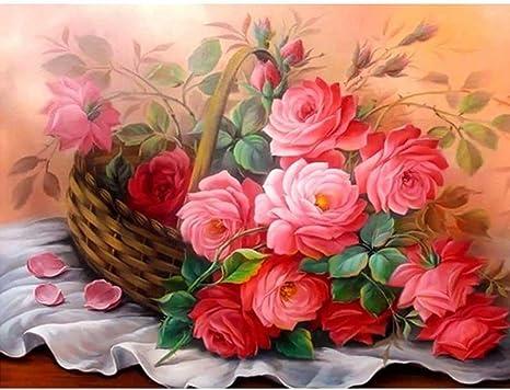 Multicolor D Leyorie Rose Flower DIY 5D Diamond Embroidery Painting Cross Stitch Home Decor Craft Paint-By-Diamond Kit