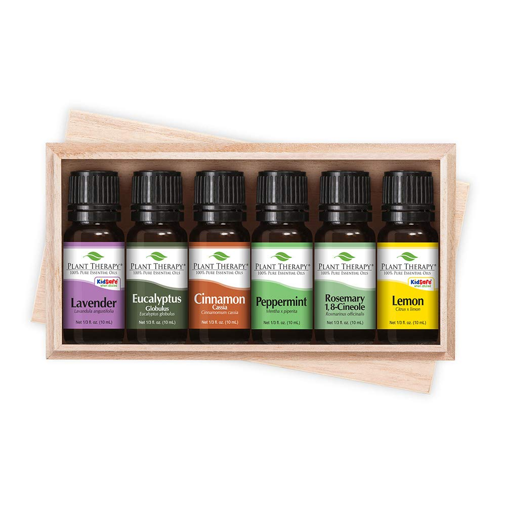 Plant Therapy Essentials Gift Set - Lavender, Peppermint, Eucalyptus, Lemon, Rosemary, Cinnamon, in A Wooden Box 100% Pure, Undiluted, Natural Aromatherapy, Therapeutic Grade 10 mL (1/3 oz) by Plant Therapy