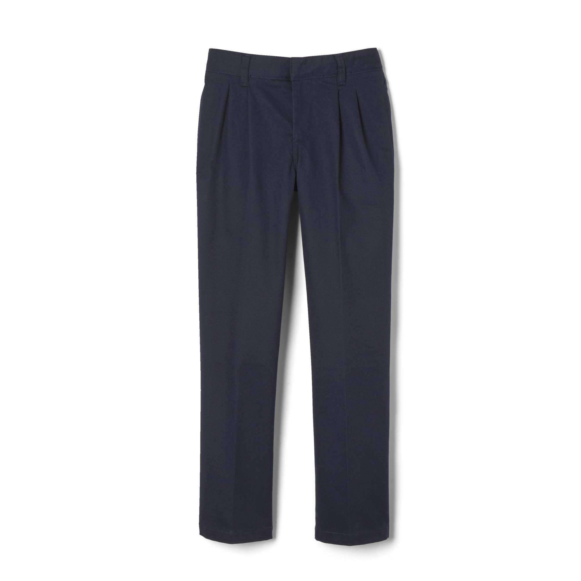 French Toast Boys' Big Adjustable Waist Relaxed Fit Pleated Pant (Standard & Husky), Navy, 12