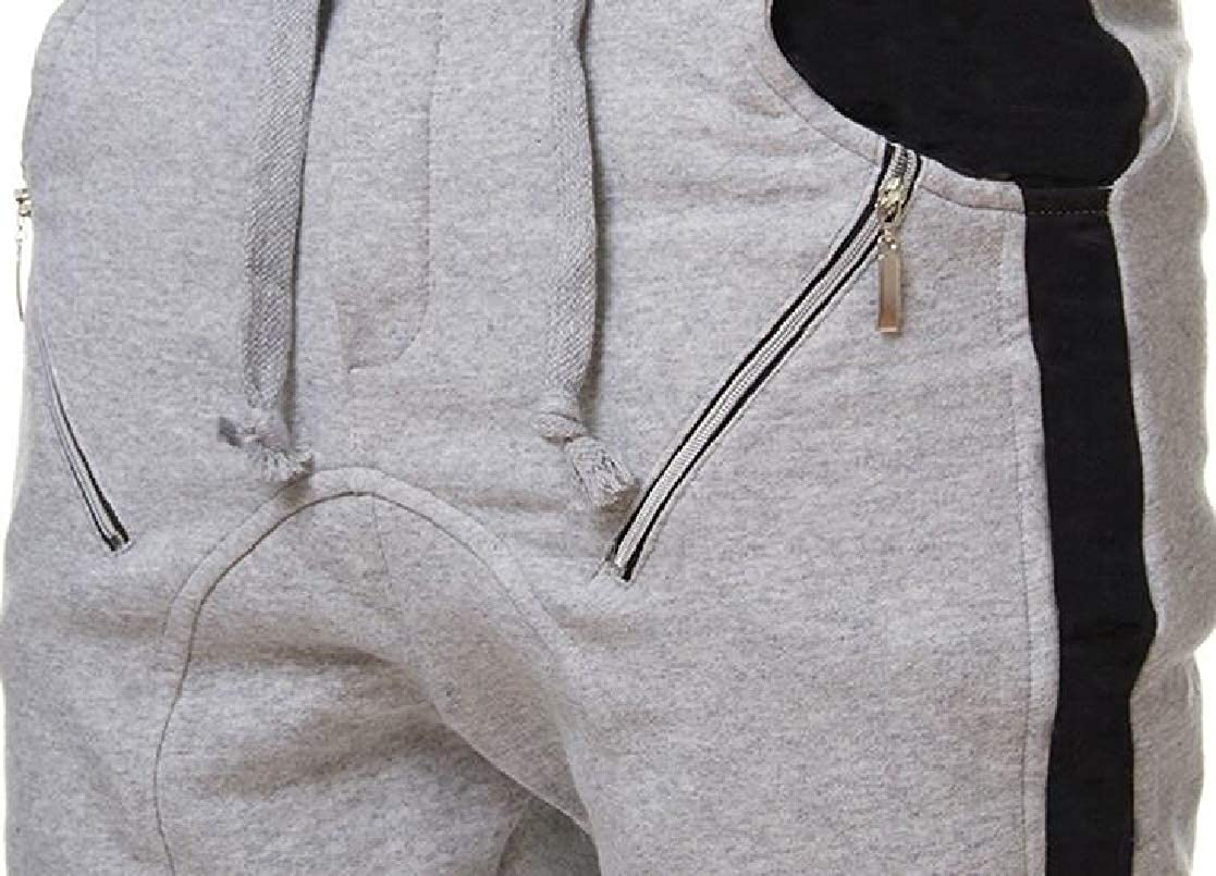 KLJR Men Zipper Drawstring Casual Fashion Patchwork Jogger Elastic Waist Harem Pants