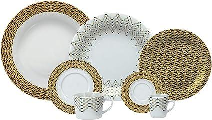 Serviço Jantar Chá Café 42 Peças Porcelana Schmidt Diversos. Decoração Iris Multicor Pacote De 042 No Voltagev