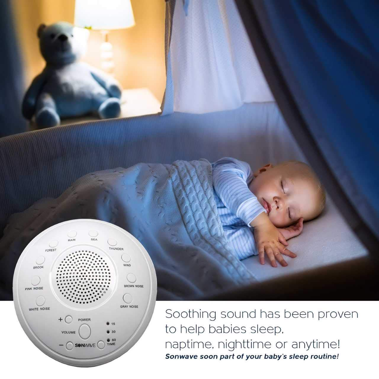 Travel White Noise Sound Machine 10 Natural Soothing Sound Tracks Home Multiple Timer Settings Battery or Adapter Charging Options Baby SonTech Office