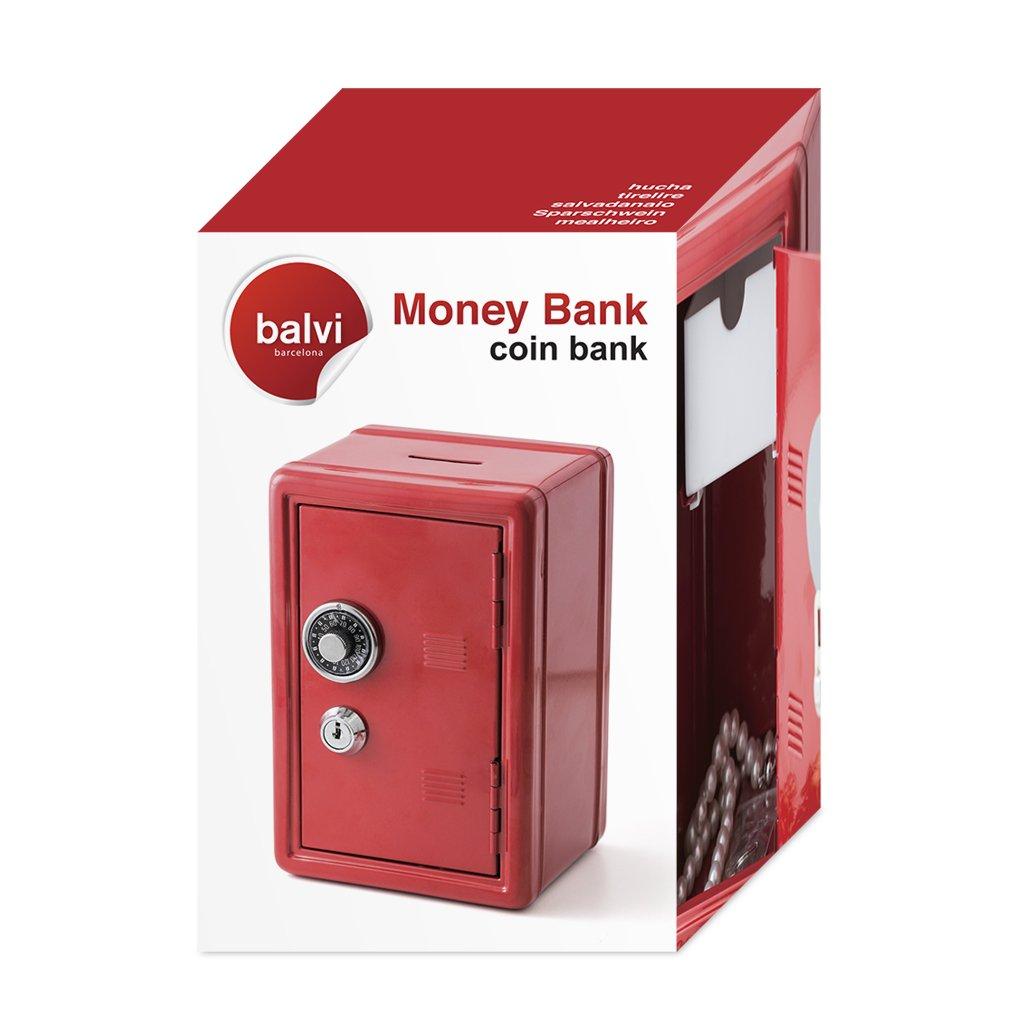 Balvi Hucha Money Bank Rojo Caja de Seguridad con Doble Cerradura combinación y Llave Guarda Monedas, Billetes, Joyas y Objetos de Valor Hierro 18 x 12 x 11 ...