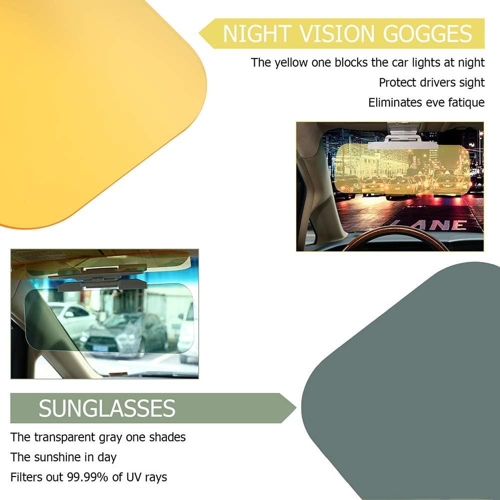 Universal Size Sun Shield as Seen on TV Visor Glare Shield Block 2 in 1 UV Day Vision Sunscreen and Night Vision Goggles for Windshield 2 Pack Lelance Car Sun Visor Extender