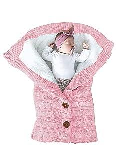 XMWEALTHY Unisex Infant Swaddle Blankets Soft Thick Fleece Knit Baby Girls Boys Stroller Wraps Newborn Baby Accessory Light Pink