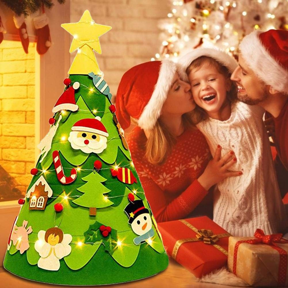 Sponsi Diy colgante de /árbol de navidad de fieltro 3d con 17 piezas de adornos adorno colgante de /árbol de navidad para decoraci/ón navide/ña regalo educativo de bricolaje para ni/ños no tejidos cosy