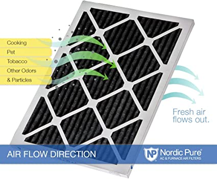 Nordic Pure 16x22x1 Exact MERV 8 Pure Carbon Pleated Odor Reduction AC Furnace Air Filters 2 Pack