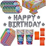 Birthday Party Supplies and Decorations for 16: 130 Pieces. Plates, Cups, Cutlery, Napkins, Tablecloth, Balloon Birthday Banner.