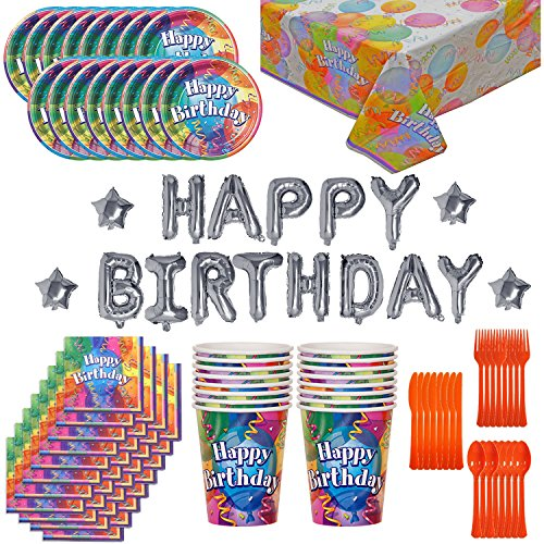 HeroFiber Birthday Party Supplies and Decorations for 16: 130 Pieces. Plates, Cups, Cutlery, Napkins, Tablecloth, Balloon Birthday Banner. from HeroFiber