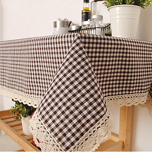 (Oyeahbridal Picnic Checkered Tablecloth Cotton Linen Macrame Fabric Washable Tablecloths for Dinner Table)