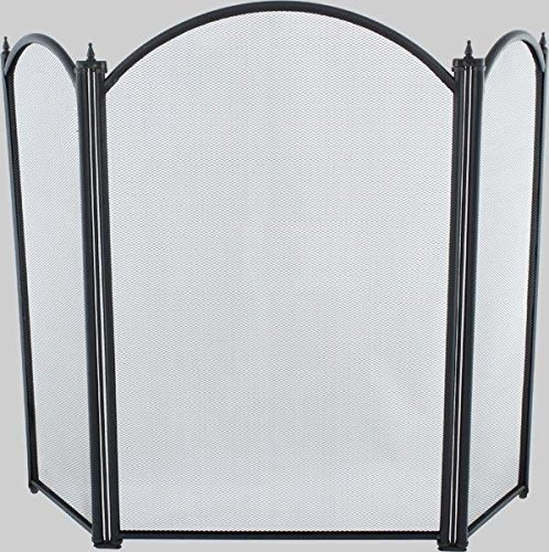 Traditional Black Three Fold Fire Guard - With Mesh and Decorative Finials 72cm Tall Black Country Metal Works