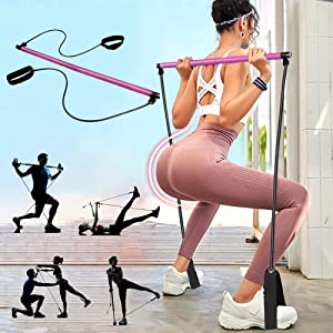 PLEASION Pilates Exercise Resistance Band, Yoga Pilates Bar Reformer Kit, Portable Pilates Stick Fitness Bar, Home Gym Pilates with Foot Loop for Total Body Workout…