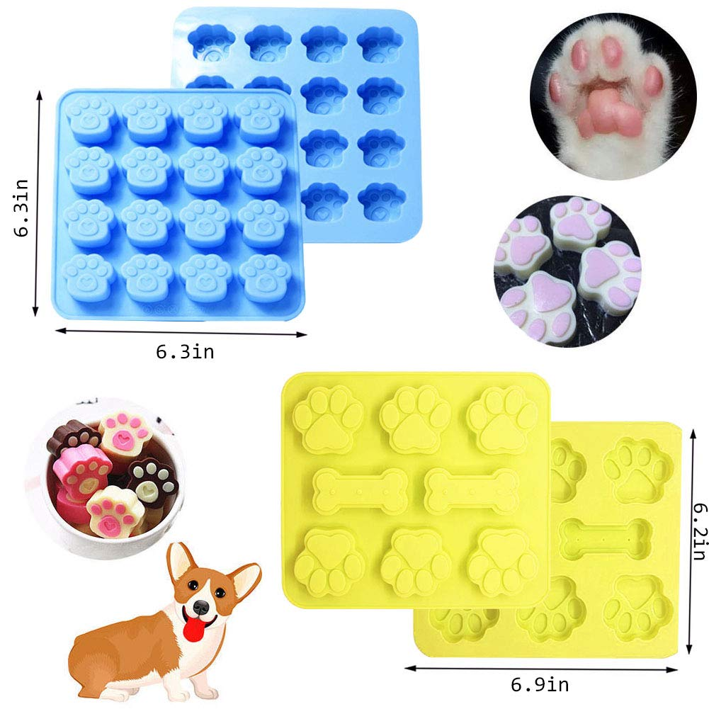 7 Pack Dog Treat Molds, Puppy Dog Paw and Bone Molds, Non-stick Dog Ice Molds Trays, Reusable Baking Molds for Chocolate, Candy, Cupcake, Biscuits- perfect Dog Cookie Molds for Puppy lovers by Ausplua (Image #2)