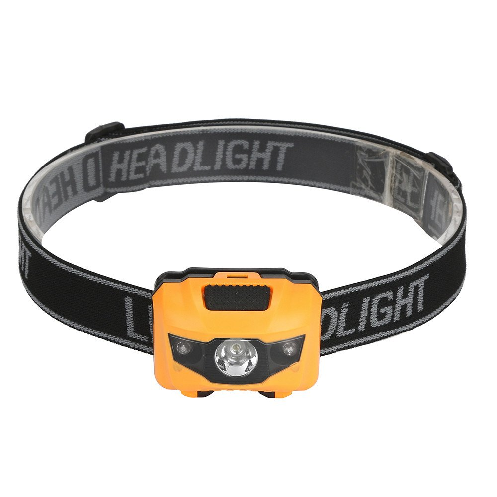FEDULK LED Mini Headlight Headlamp Flashlight 4 Mode Super Bright Torch Lamp for Outdoor Activities(Yellow)