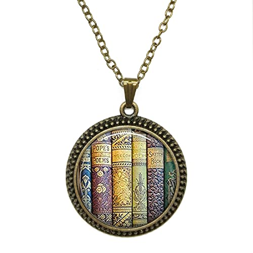 Amazon glass dome cabochon necklace pendants shabby books glass dome cabochon necklace pendants shabby books library librarian charm vintage gemstone fashion jewelry for men aloadofball Gallery