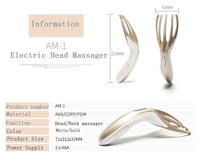 Eléctrica masajeador de cabeza cuello masaje herramienta cuero cabelludo vibración masaje terapéutico peine peine de alivio de dolor de cabeza de mano para ...