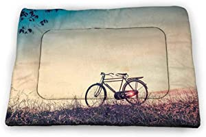 Medium Dog Food Mat Vintage Bike are Not Sticky Recycle Retro Filter Sunset and Bicycle in Pastel Tones Hipster Joyful 23