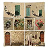 Super Soft Throw Blanket Custom Design Cozy Fleece Blanket,Tuscan Decor,Various Pictures of Italian Lifestyle with Old Classic Shutter Window and Stone Houses Print,Multi,Perfect for Couch Sofa or Bed