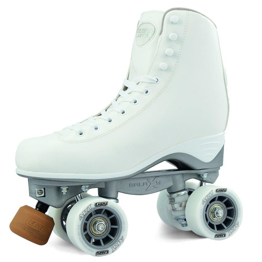 Crazy Skates セレブリティアートシリーズ リズムローラースケート  クラシックハイホワイトアーティスティッククワッドスケートスタイル  Men 3.5 / Ladies 4