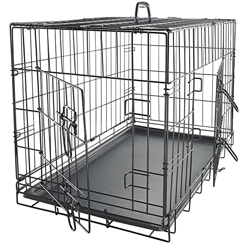 Pet Kennel Cat Dog Folding Steel Crate Animal Playpen Wire Metal Cage Black (24'') by Lykos (Image #2)