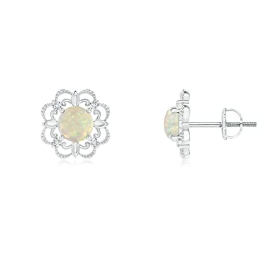 Angara Vintage Style Opal and Diamond Fleur De Lis Earrings in Platinum 0cOIl
