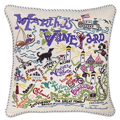 (Catstudio | Martha's Vineyard Hand Embroidered Throw Pillow | Original Design Celebrates The Vineyard)