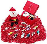 Red Shimmer Christmas Holiday Gift Basket Box - Lindt Lindor Gourmet Chocolate Truffles Candy & Plush Santa Claus