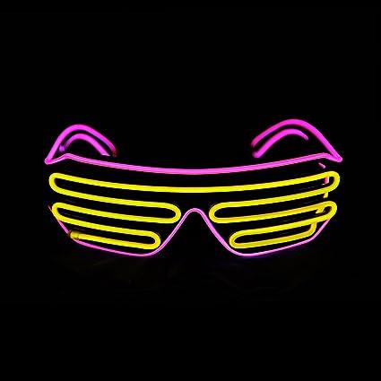 2990c121d2a Aquat Glow Shutter Rave Neon LED Glasses El Wire Light Up Flashing  Sunglasses DJ Costumes Voice