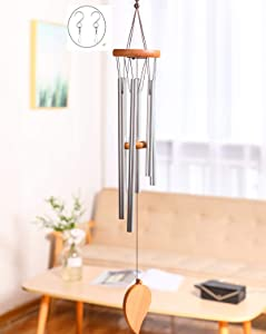 Aoglenic Sympathy Wind Chimes Outdoor, Wind Chimes Garden Patio Decor, Memorial Wind Chime with Metal Tubes Tuned Soothing Relaxing Melody, Best Gift for Friends Children Lovers Yard Home