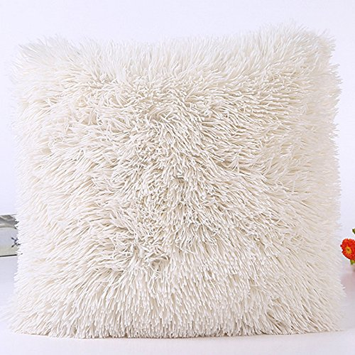 (Table Office Accessories M and F 1 PC Soft Plush Faux Fur Wholesale Decorative Cushion Pillowcase Throw Pillow for Sofa Car Chair Hotel Home Decoration Color White )